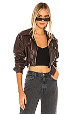 h:ours Oversized Cruze Jacket in Dark Brown
