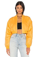 h:ours Sim Crop Bomber Jacket in Orange Creme