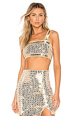 h:ours Genova Crop Top in Gold