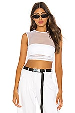 h:ours Lisa Mesh Top in White