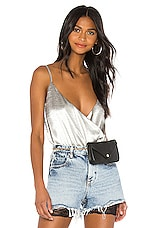 h:ours Pina Bodysuit in Silver Smoke