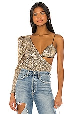 h:ours Attract Bodysuit in Gold