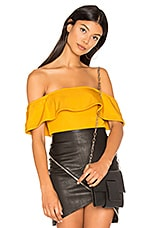 h:ours Off Shoulder Cheeky Bodysuit in Marigold