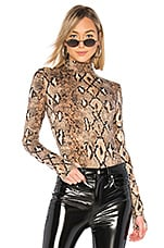 I.AM.GIA Kenzie Bodysuit in Tan Snakeskin