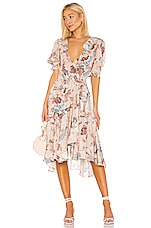 ICONS Objects of Devotion Cha Cha Wrap Dress in Peach Jaipur Floral