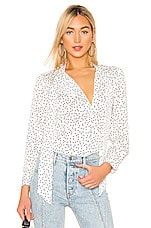 ICONS Objects of Devotion Romantic Tie Blouse in White & Navy Irregular Polka Dot