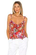 ICONS Objects of Devotion Ruffle Teddy Cami in Red Floral