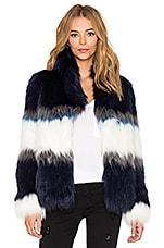 IKKS Paris Faux Fur Jacket in Bleu