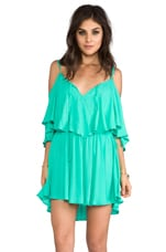 Zhina Flounce Top Mini Dress With Interchangeable Top in Aqua