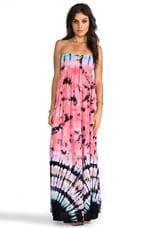 Indah Flamingo Smocked Bandeau Maxi Dress in Tie Dye