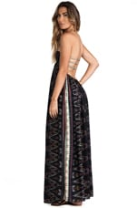 Flamingo Smocked Bandeau Maxi Dress in Black Endek
