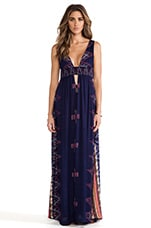 Anjeli Plunge Empire Maxi Dress in Indigo Endek