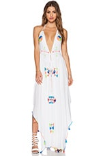 Imani Halter Maxi Dress Embroidery in White