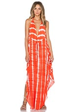Imani Halter Maxi Dress in Garis Orange