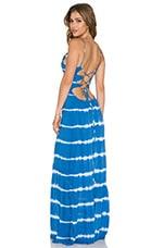 Zera Ruffle Bottom Maxi Dress in Garis Blue