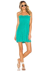 Indah Mercy Solid Strapless Mini Dress in Sea