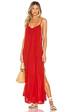 Indah Yasmine Solid Gathered Neckline Maxi Sundress in Fire