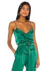 Indah Lady Luck Solid Button Front Cami in Emerald