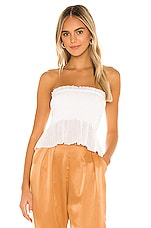 Indah Greta Strapless Top in White
