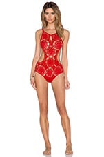Nzuri Crochet Swimsuit in Red