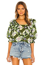 Innika Choo Anita Eayte Blouse in Lime Green Floral