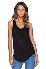 Doris Distressed Tank in Noir