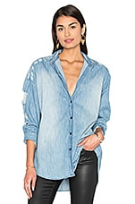 Emira Distressed Button Up in Blue