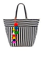 JADEtribe Valerie Multi Tassel Pom Tote Bag in Indigo