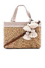 JADEtribe Sabai Mini Square Basket with Leather Handle in Sand