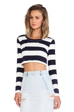 Explorer Long Sleeve Crop Top in Navy & White Stripe