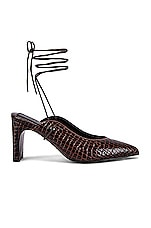 JAGGAR Laced Croc Heel in Chocolate