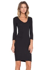 Double V Tucked Dress in Black