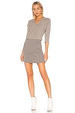 James Perse Mixed Media Blouson Dress in Platinum