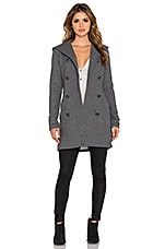 James Perse Double Breasted Hoodie Coat in Charcoal