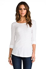 Sheer Slub Long Sleeve Tee in White