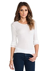 Cashmere Rib Long Sleeve Crew in White