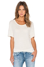 Split Hem Linen Tee in Ceramic