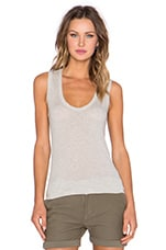 Narrow Scoop Neck Tank in Heather Grey