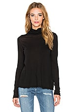 Split Back Funnel Neck Top en Noir