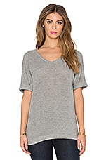 Knit Mesh Top en Gris Chiné