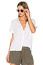 James Perse Short Sleeve Linen Button Up in Grey & White