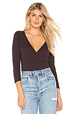 James Perse Sueded Wrap Top in Fig
