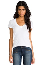 Classic Relaxed Casual V Tee in White