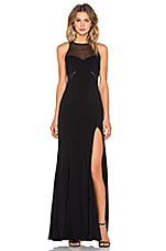 Jay Godfrey Barrington Mesh Inset Gown in Black