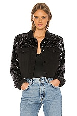 J Brand Cropped Cyra Jacket in Black Sequins
