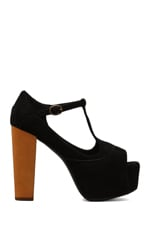 Foxy Platform w/ Wood Heel in Black Suede