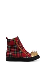 Jeffrey Campbell Adams Hi-Top Sneaker in Red Plaid/Gold