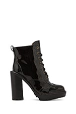 Forks Lace Up Leather Boot in Black Leather