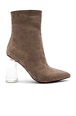 Jeffrey Campbell Lustful Bootie in Taupe Suede & Clear