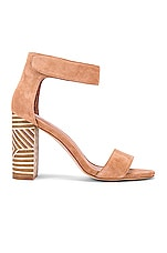 Jeffrey Campbell Lindsay Sandal in Blush Suede & White Triangle Stack Heel